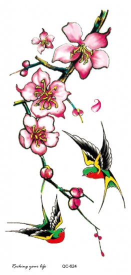 Swallows and flowers